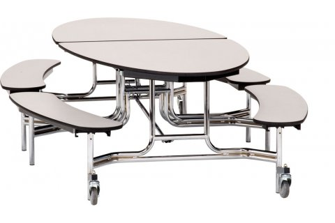 NPS Folding Oval Bench Cafeteria Tables