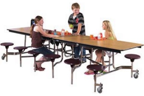 Mobile Cafeteria Stool Tables, Plywood Core