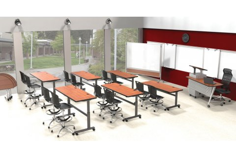 Height-Adjustable Sit/Stand Flipper Seminar Tables by Balt