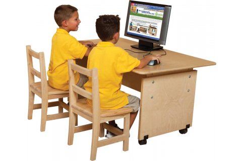 Adjustable Height Classroom Computer Tables by Wood Designs
