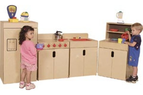 Tip-Me-Not Wooden Play Kitchen by Wood Designs