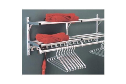 Combo Aluminum Coat Rack, Rod & Hooks